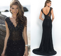 Wholesale Elegant Beaded Custom Made Black Mermaid Formal Evening Gowns Sexy Backless Lace Evening Dresses Long vestidos noche for Women