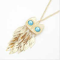 amethyst owl - 2015 Middle Eastern Rushed Gift Multi Layer Necklace Gold Fantasias Amethyst Fine Jewelry Factory Direct Fashion Leaf Owl Ftf120