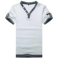Men 100% cotton shirt fabric - men s fashion T shirt Cool T Shirts new casual short sleeved solid color personality Fabric splicing buttons decorate v neck cotton
