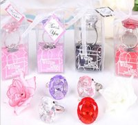 Wholesale 100pcs With this Ring Diamond Keychain White Key Chain Wedding Favors and gifts