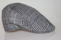 Wholesale Winter and Fall Men Elegant Vintage Checker Woolen Berets Hat Peak Cap