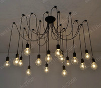 american lighting lamp - 16 Lights Retro Classic DIY RH Designer Loft American Edison Vintage Ceiling Chandelier Lamp E27 Pendant Spider Lamps Holder MYY9977A