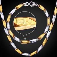 Wholesale Two Tone G Pattern Bracelet Necklace Set Unique Chains Stainless Steel K Gold Plated Vintage Men Jewelry Sets MGC GNH1145