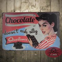ask questions - Silly Question Not Ask Metal plaque Chocolate Poster Retro Bar Craft Decor Wall art Signs CM Mix Items