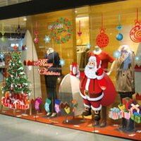 Wholesale Fashion Christmas Wall Stick Santa Claus Christmas tree Removable Wall Sticker For Show Window Decoration HG WS