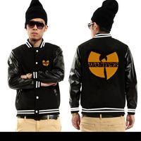 baseball leather jackets - Fall Leather sleeve fleece cotton wu tang clan jackets European USA hip hop fashion clothing high quality baseball jerseys hoodies