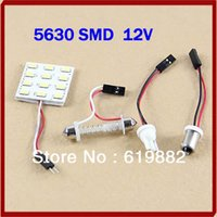 Wholesale Retail T10 BA9S Panel Lamp Bulb12 LED SMD White Interior Room Dome Door Car Light