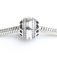 Wholesale Fits Pandora Bracelets mm stone inlaid hollow dangle charms Silver Beads Cubic Zirconia Sterling Silver Charms for DIY Jewelry