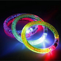 Wholesale NEW LED Colorful Flashing Bracelet Light Acrylic Blinking Crystal Bracelets Color Hand Ring Bangle Stunning Dance Party Xman Christmas Gifts