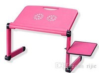 Cheap Wholesale - free shipping 2014 new laptop table bed table with fan heat sink aluminum folding computer desk stand lazy Rose Red and Black