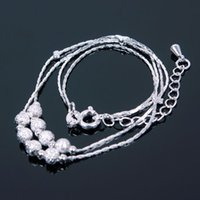 Wholesale Fashion Jewelry Anklets Silver Bead Chain Anklet Bracelet Foot Jewelry Barefoot Sandal Beach Woman