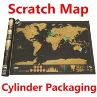 Wholesale Deluxe Scratch World Map x59 cm Black Background Foil Cover With Delicate Cylinder Packaging Creative DIY Gift Learning Toys