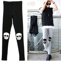 Wholesale Leggings For Women Cotton Women s Warm Pants Skull Skeleton Leggings Silm Stretch Clothing Black Grey