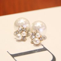 Wholesale fashion personality temperament elegant pearl diamond earrings Korean version of the double sided big earrings female fashion acce