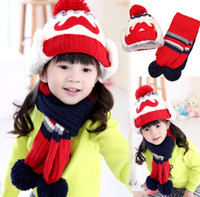 Hats, Scarves & Gloves Set Others Others Wholesale-2015 Fashion Big beard style boys Knitted hats winter 2 pcs baby girl scarf hat fur set Age for 8 months-4 Years Old