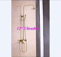 bathtub faucet handheld - Ultrathin quot Rainfall Golden Shower Faucet Bathtub Mixer Tap W Handheld Shower