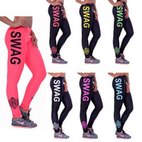wholesale ladies wear - New Summer High Stretched Letter Printed Lady And Girls Skinny Pants SWAG Fitness Running Leggings Women Sport Leggings Street Wear JH16 L01