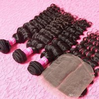 Wholesale Peruvian Kinky Curly nature Hair With Closure Human Hair Bundles With Closure Peruvian Deep Curly With Closure
