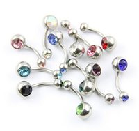 bell gauge - 12pcs Double Jeweled CZ Crystal Gem Belly Button Navel Rings L Surgical Steel Gauge quot Navel Bell Button Rings