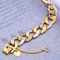 Wholesale Silver Box Chain Bracelet - 2016New 12mmWholesale Factory sales Hot sale Not fade New style24K bracelet men's fashion two color gold platinum plating Free shipping16