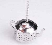 Metal tea ball strainer - NEW Tea Infuser CM Teapot shaped Stainless Steel Herbal Pot Tea Infuser Strainers Filter Tea Ball