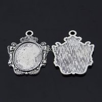 angels trays - 10pc mm Oval Angel Crown Cameo Cabochon Setting DIY Jewelry Findings Necklace Blanks Antique Silver Tray Base F160