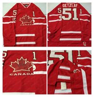 Cheap Mens #51 Getzlaf Red 2010 Canada Team Vancouver Winter Olympic Hockey Jerseys Ice International Sports Stitched Premier Authentic Sports