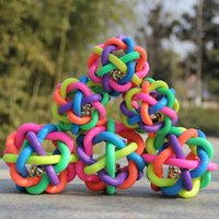 Wholesale Plastic Colorful Dog Toy Cheap Pet Toys Plastic Toy Ball With Bell For Dog Pet Product