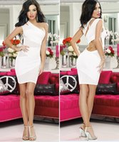 Cheap New Spring Sexy Women Club Clothing Bandage Pencil Dress Hollow Out One Shoulder Dress Vestidos Black Purple White red free shipping