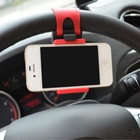 Wholesale Universal Car Steering Wheel Mount Holder Rubber Band for Phone Pod MP4 GPS Mobile Phone Holders