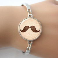 beard pictures - Mustache Bracelet Hipster Jewelry Silver Plated Mental Bangle beard Art Picture New Man Jewelry Glass Charm Bracelet