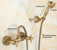 Wholesale Antique Brass Bathroom Bath Wall Mounted Hand Held Shower Head Kit Shower Faucet Sets