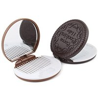 Wholesale Lovely Cute Cookie Shaped Design Mirror Makeup Chocolate Comb Cookies Mirroe Portable Make Up Mirrors With Comb Cosmetic