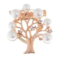 Wholesale Hot Fashion Gold Plated White Round Pearl Brooch Pin Christmas Tree Pattern Brooches For Women Party Christmas Gifts