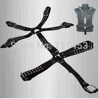 leather body harness - Men Full Body Harness Leather Suit Costume With Penis Cocking Ring Adult Sex Products Fetish Systemic Set Harness