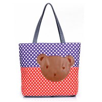 big bear beach - 2015 Fashion Women Big Bag Handbags Women Famous Brand Cartoon Bear Decor Large Capacity Casual Tote Canvas Beach Bag