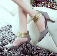 wet grinding - Latest fashion Roman wind spring and summer in Europe and the wet shoes sexy stilettos grinding foot ring pointed high heeled shoes