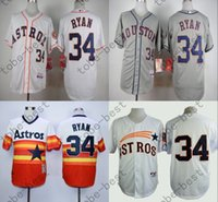 Wholesale Houston Astros Nolan Ryan Jersey White Grey Orange Cool Stitched Baseball Jersey Embroidered Logo