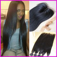 Wholesale 3 bundles hair weft Top closure Brazilian virgin weft hair silk straight closures mixed lengths