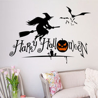 bathroom c - New Adesivo De Parede Zyhallowmas05 A B C Halloween Pumpkin Skull Children Room Bedroom Wall Stickers home decoration Waterproof Removable