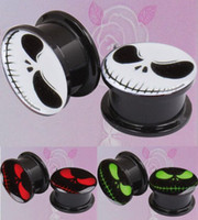 Wholesale Nightmare Logo Acrylic Ear Plug Flesh Tunnel Body Jewelry Sizes White Red Green Colors for choices