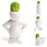 Wholesale Garden DIY Carft Small Man Design Ceramic Pot Bonsai Mini White Grass Magic Office Garden Desk Table Decor Plants