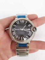 Plata de casos de ETA-2824 Ver Movimiento Automático Diamond Bisel 42mm hombres relojes de pulsera de moda mejor regalo de calidad superior Nuevo Lujo