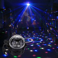 Wholesale Mini RGB LED Crystal Magic Ball Stage Effect Lighting Lamp Bulb Party Disco Club DJ Light Show US Plug