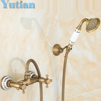 Wholesale Antique Brass Bathroom Bath Wall Mounted Hand Held Shower Head Kit Shower Faucet Sets YT