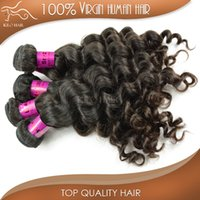 Wholesale Top More loose wave brazilian remy human hair extensions A bundles virgin unprocessed hair weave bulk best choice beauty salon black