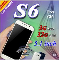 Wholesale 5 Metal body s6 phone MTK6582 Quad core Android s6 edge phone G Ram G Rom G920F Quad core S6 Mobile phone DHL Free