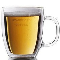 Wholesale High quality starbucks double wall glass mug bodum double wall glass cup ml oz