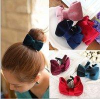 banana barrette - Retro velvet buckle Korean issuers elegant ponytail banana clip ponytail clip