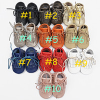 Summer infant winter shoes - retail pair baby Genuine leather Double tassel Boot infant moccasins booties kids soft shoes Toddler birthday gift